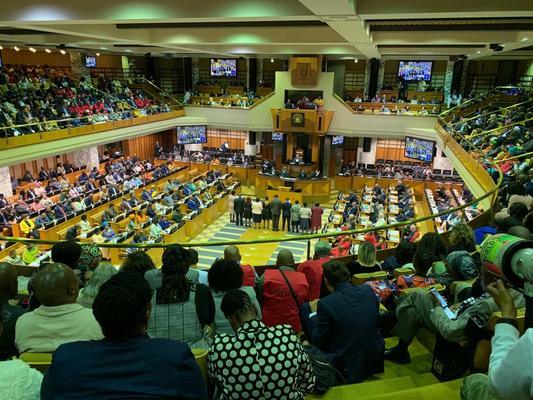 African National Congress (ANC) MP Thandi Modise will go up against Thembekile Majola of the Democratic Alliance in a secret vote to be settled after lunchtime which will determine the new Speaker of the National Assembly. Photo: Ian Landsberg / ANA
