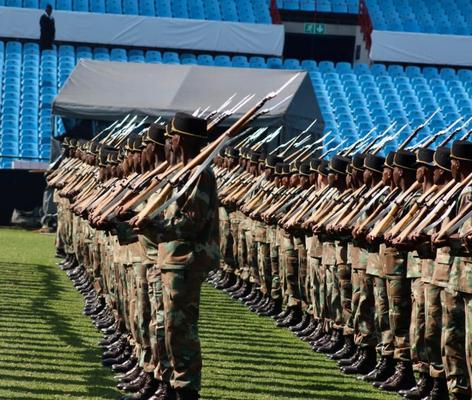 Members of different units of the SA National Defence rehearsing for the ceremonial part of President Cyril Ramaphosa's inauguration. Photo: Jonisayi Maromo / ANA