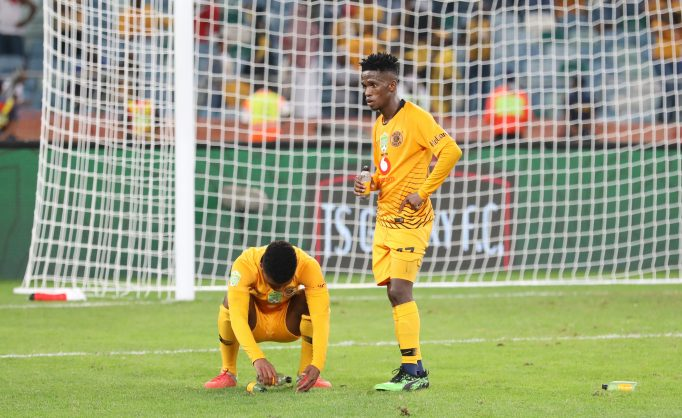 Dumisani Zuma and Kabelo Mahlasela of Kaizer Chiefs in disappointment during the 2019 Nedbank Cup match between Kaizer Chiefs and TS Galaxy at the Moses Mabhida Stadium. (Muzi Ntombela/BackpagePix)