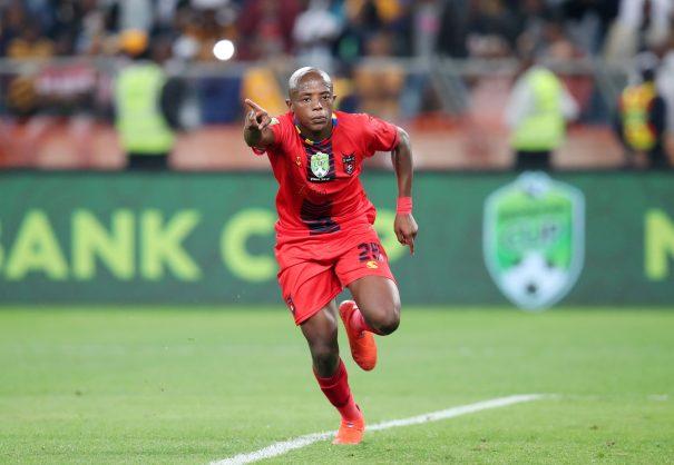 Zakhele Lepasa of TS Galaxy celebrates goal during the 2019 Nedbank Cup match between Kaizer Chiefs and TS Galaxy at the Moses Mabhida Stadium. (Muzi Ntombela/BackpagePix)