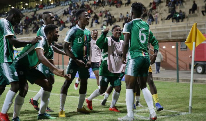 Youssouf Ibroihim of Comoros celebrates a goal with teammates during the 2019 Cosafa Cup Match between Comoros and Mauritius at King Zwelithini Stadium. (Samuel Shivambu/BackpagePix)
