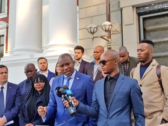 DA leader Mmusi Maimane briefs the media following a caucus meeting ahead of South Africa's sixth parliament convening. Picture: Twitter (@Our_DA)