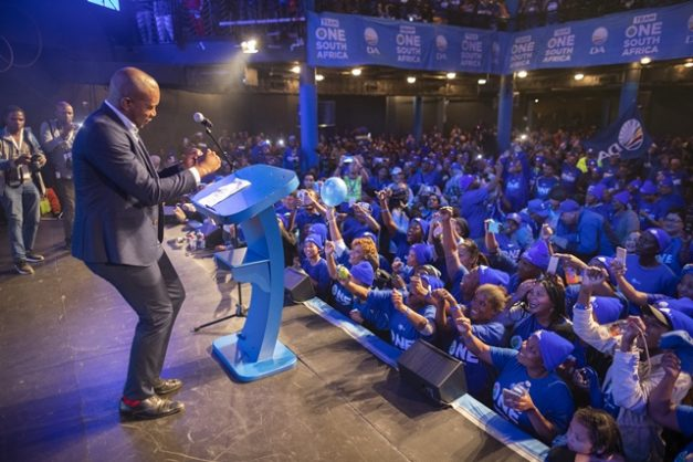 epa07539945 Opposition Democratic Alliance (DA) leader Mmusi Maimane (L) dances during the parties last campaign rally in the Western Cape in Cape Town, South Africa, 01 May 2019. South Africa holds its 5th general election since its first democratic election at the end of apartheid, on 08 May 2019.  EPA-EFE/NIC BOTHMA