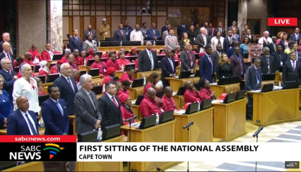 EFF sit in parliamentary protest during 'Die Stem', English part of the SA anthem