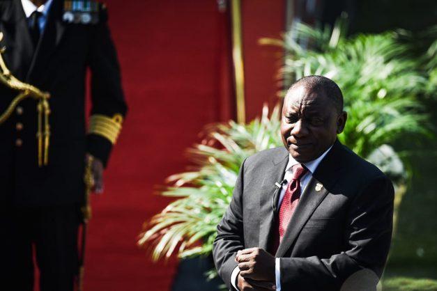 South Africans celebrate President Cyril Ramaphosa's inauguration  at Loftus Versfeld Stadium in Pretoria on Saturday.