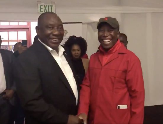 Cyril Ramaphosa and Julius Malema. Picture: EFF/Twitter