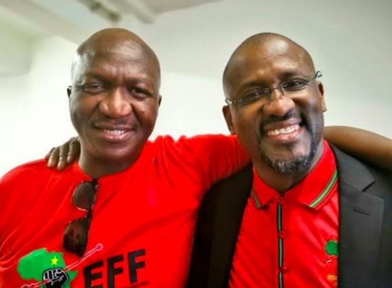 Fana Mokoena standing next to fellow EFF member Ringo Madlingozi | Image: Twitter