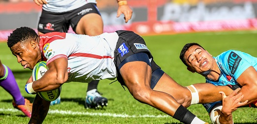 Aphiwe Dyantyi during the Super Rugby match between Emirates Lions and Waratahs at Emirates Airline Park on May 11, 2019 in Johannesburg, South Africa. (Photo by Sydney Seshibedi/Gallo Images)
