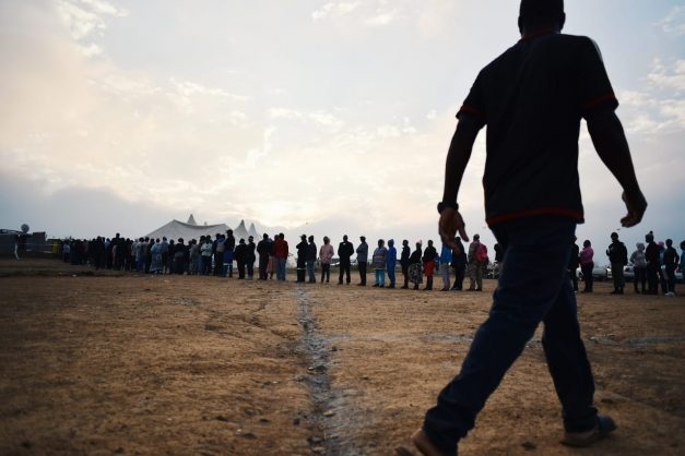 Voters queue at dawn at a voting station in Saulsville, Pretoria. Picture: Jacques Nelles.