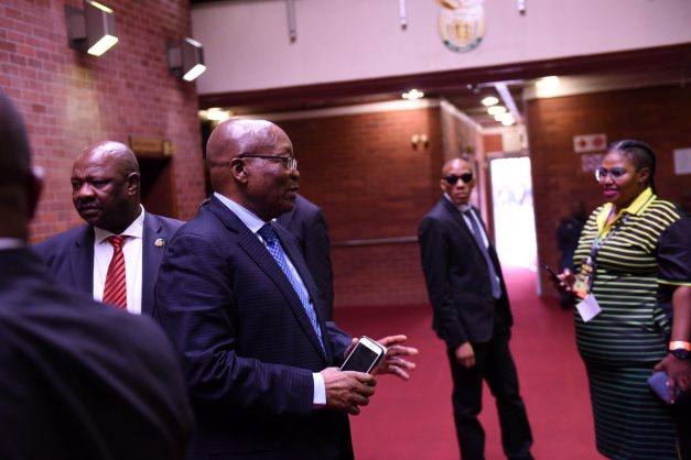Former President Jacob Zuma appearing at Pietermaritzburg High Court for corruption charges, 20 May 2019, after his battle for the court to grant him permanent stay of prosecution on the charges related to the multi -billion rand arms deal. Picture: Nigel Sibanda.