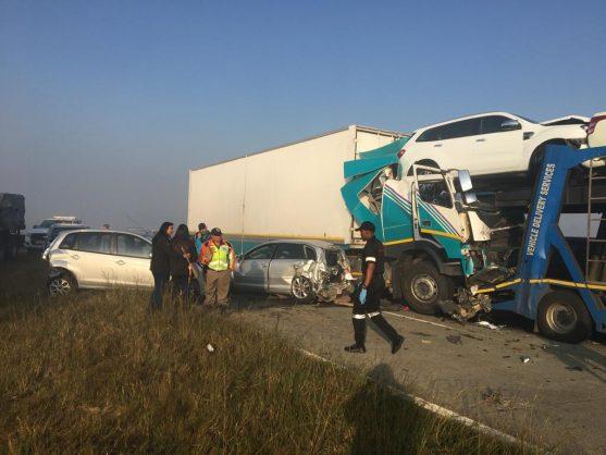The scene of the crash on the Golden Highway. Image: Twitter/@crimeairnetwork