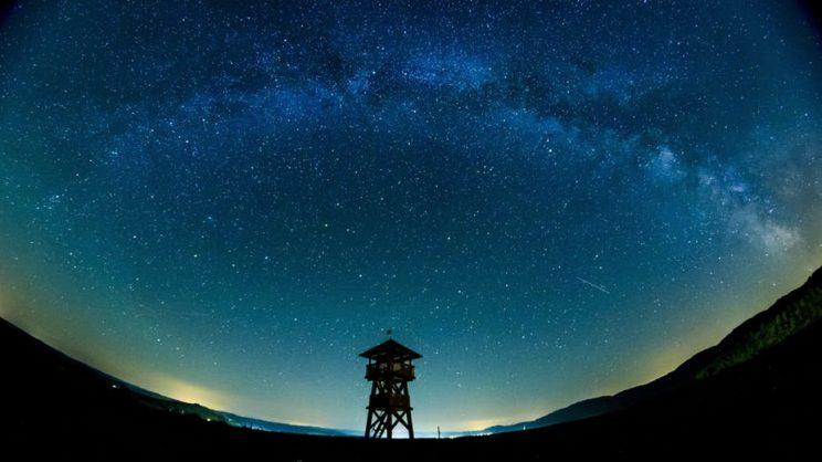 The Milky Way stretches across the sky near the Hungarian border village of Tachty in Slovakia.EPA/PETER KOMKA