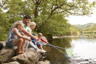 Family On Walk Fishing