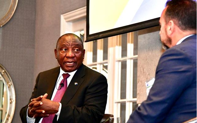 President Cyril Ramaphosa participates in a dialogue with Colin Coleman, Goldman Sachs' Sub-Saharan Africa's Chief Executive Officer, at the Goldman Sachs' investor conference at the Four Seasons Hotel, The Westcliff in Johannesburg. PHOTO: GCIS