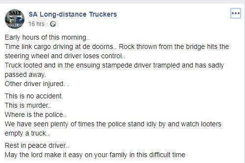 WATCH: Truck driver dies after boulder thrown through windscreen