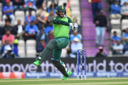 South Africa's Rassie van der Dussen plays a shot during the 2019 Cricket World Cup group stage match between South Africa and India at the Rose Bowl in Southampton, southern England, on June 5, 2019. (Photo by Dibyangshu SARKAR / AFP) / RESTRICTED TO EDITORIAL USE