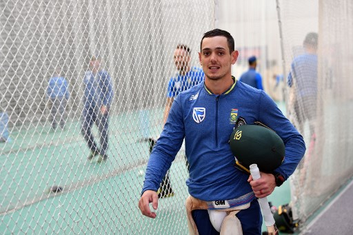South Africa's Quinton De Kock waits for his turn to bat during an indoor training session at Sophia Gardens Glamorgan Cricket Ground in Cardiff on June 14, 2019, ahead of their 2019 World Cup match against Afghanistan. (Photo by Saeed KHAN / AFP)
