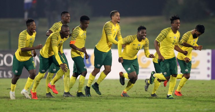 South Africa players celebrates after winning on penalties during the 2019 Cosafa Cup match between South Africa and Uganda at Princess Magogo Stadium, Durban on 04 June 2019 ©Samuel Shivambu/BackpagePix