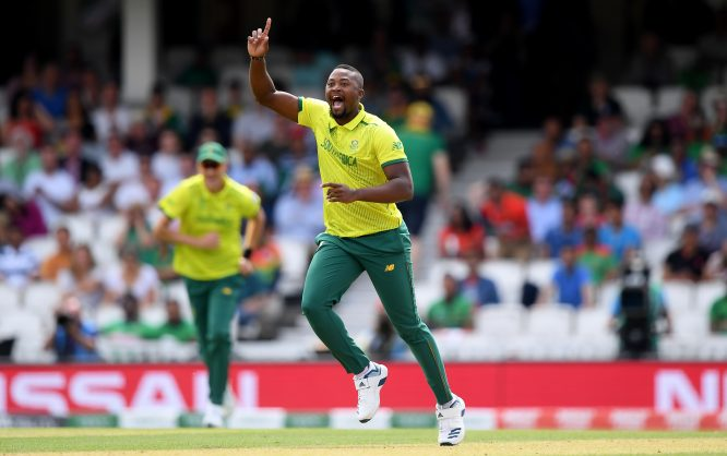Andile Phehlukwayo of South Africa celebrates taking the wicket of Tamim Iqbal of Bangladesh during the Group Stage match of the ICC Cricket World Cup 2019 between South Africa and Bangladesh at The Oval on June 02, 2019 in London, England. (Photo by Alex Davidson/Getty Images)