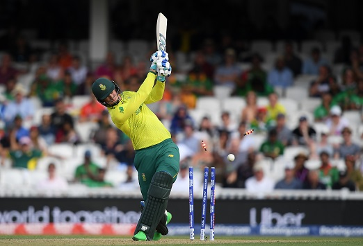 Rassie van der Dussen of South Africa is bowled by Mohammad Saifuddin of Bangladesh (not pictured) during the Group Stage match of the ICC Cricket World Cup 2019 between South Africa and Bangladesh at The Oval on June 02, 2019 in London, England. (Photo by Alex Davidson/Getty Images)