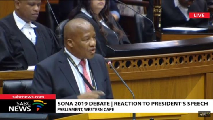 Minister in the Presidency, Jackson Mthembu debates President Cyril Ramaphosa's third Sona with opposition parties, 25 June 2019. Picture: Screenshot (SABC Digital News).