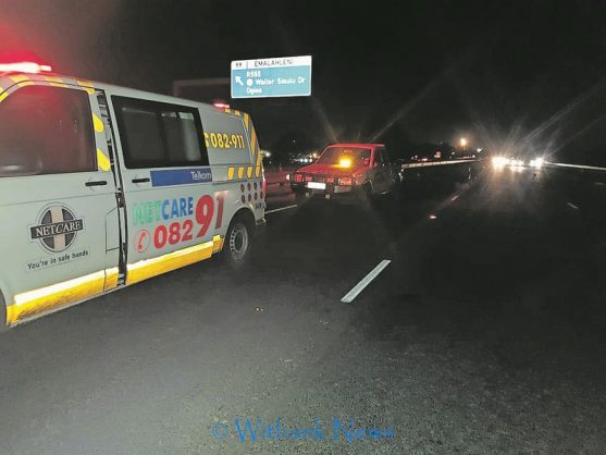 Response vehicles at the scene of the accident