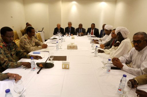 Members of the Sudanese Military Council and the protest movement the Alliance for Freedom and Change meet at the Corinthia Hotel in the capital Khartoum on July 3, 2019. Picture: ASHRAF SHAZLY / AFP