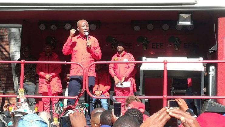 Economic Freedom Fighters leader Julius Malema addresses supporters following the dismissal of his attempt to have the Riotous Assemblies act declared unconstitutional. July 4, 2019. Picture: Nigel Sibanda.