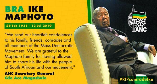 ANC mourns death of struggle veteran Ntate 'Ike' Maphoto