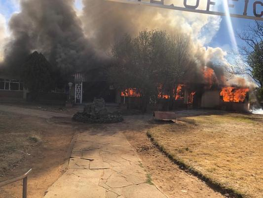 Tswaing municipal building in Ottosdal, on fire after it was torched during a violent protest, 12 July 2019. Picture: Supplied
