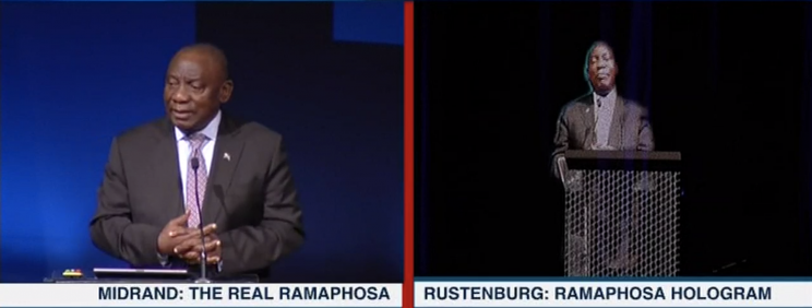 Ramaphosa becomes first head of state to appear as hologram