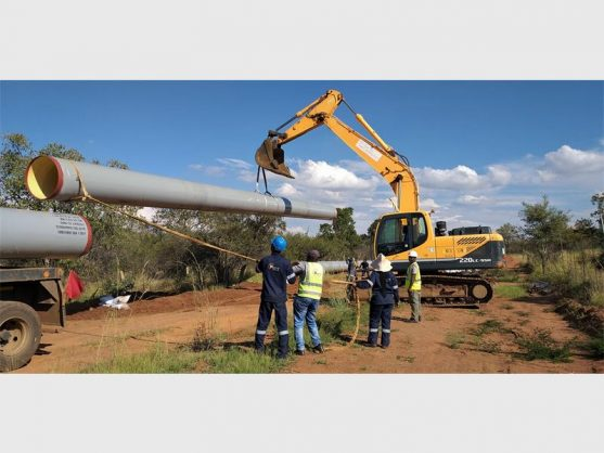 Sewage pipe construction at Hammanskraal West Extension 10. Photo: Supplied