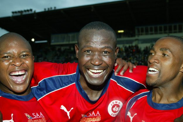 21 September 2003, Innocent Ntsume, Andrew Rabutla and Teboho Mokoena during the SAA Supa8 Final match played between Moroka Swallows and Jomo Cosmos at Kings Park Stadium in Durban, South Africa. Photo Credit : © Tertius PickardGallo Images