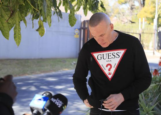Warren Batchelor, Brother of the former soccer star Marc Batchelor who was short and killed outside his home in Olivedale North of Johannesburg speaking to the media outside his brother's home. Picture: Simphiwe Mbokazi/African News Agency(ANA)