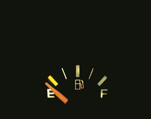 A gas tank on empty.