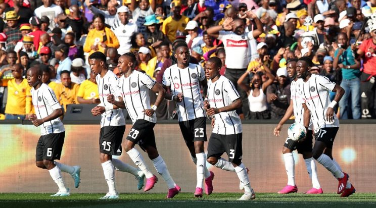 Thembinkosi Lorch of Orlando Pirates celebrates goal with teammates during the 2019 Carling Black Label Cup match between Kaizer Chiefs and orlando Pirates at the FNB Stadium, Johannesburg on the 27 July 2019 ©Muzi Ntombela/BackpagePix