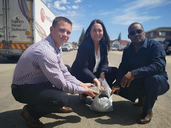 Gareth Nel from MacRebur, Eastern Cape MPL Vicky Knoetze and Kouga mayor Horatio Hendricks on the road in Jeffreys Bay where construction has commenced. Image: Kouga Municipality/Laura-Leigh Randall