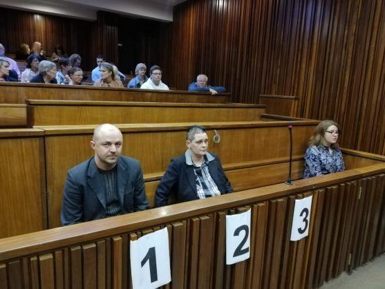 Zak Valentine, Cecilia Steyn and Marcel Steyn in court, Monday August 19, 2019. Photo: Michelle Swart, Krugersdorp News.