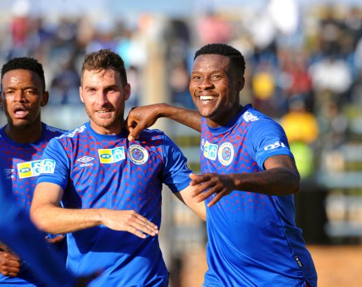 Thamsanqa Gabuza of Supersport United celebrates his goal with Bradley Grobler during the MTN8 2019 Quarter Final match between Bidvest Wits and Supersport United on August 18 at Bidvest Stadium. Pic: Sydney Mahlangu/ BackpagePix
