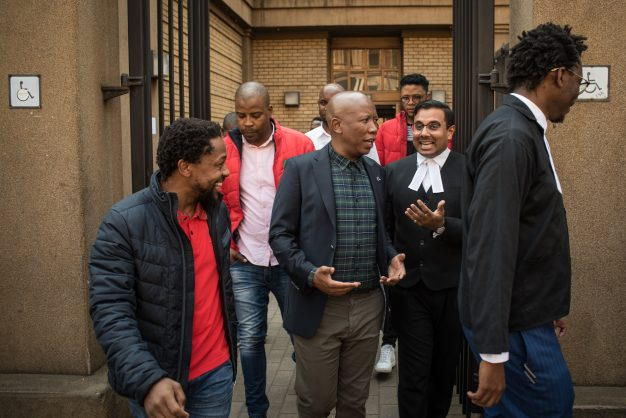 Julius Malema is seen leaving the Pretoria High Court during a lunch break in the case against the Economic Freedom Fighters (EFF) in its matter against the South African National Editors' Forum (Sanef), 6 August 2019, Pretoria. Picture: Jacques Nelles