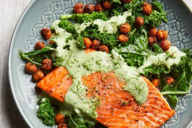 Recipe: Roasted salmon with smoky chickpeas & greens