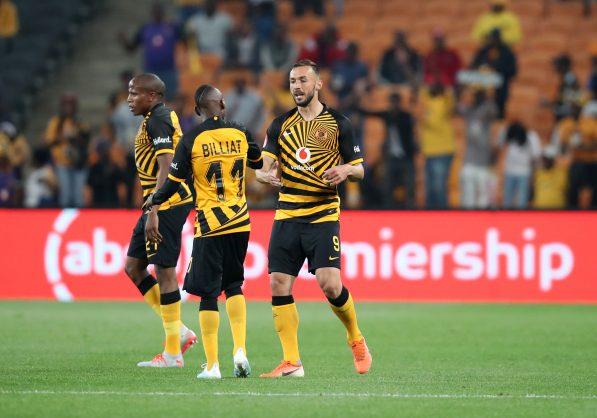 Samir Nurkovic celebrates goal with Kaizer Chiefs teammates Khama Billiat and Lebogang Manyama. (Muzi Ntombela/BackpagePix)