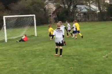 WATCH: When a young goalie's save isn't quite a save!
