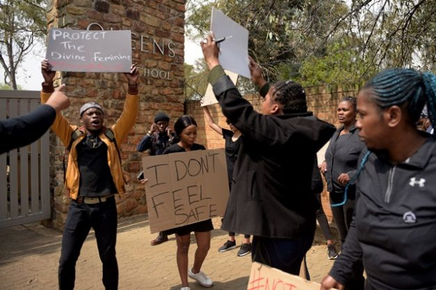 Women protest outside Queens High School in Johannesburg, 6 September 2019, demanding that action be taken against a teacher accused of sexual advances. Picture: Tracy Lee Stark