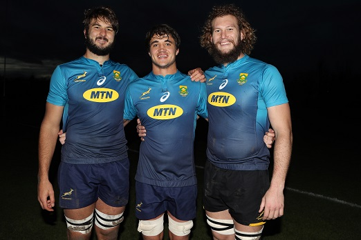 Lood de Jager with Franco Mostert and RG Snyman during the South African national rugby team training session at Peffermill Sports Fields on November 12, 2018 in Edinburgh, Ireland. (Photo by Steve Haag/Gallo Images)