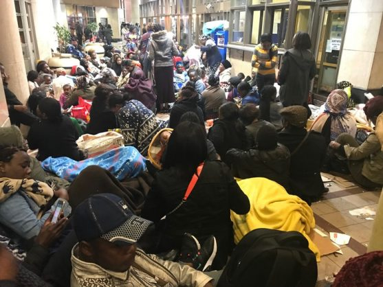Protesters camp outside UN offices, demanding to be sent out of SA