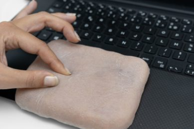 WATCH: Paris researchers develop a phone case that looks and responds like real human skin