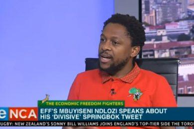 Ndlozi compares black people celebrating Springboks to congregants who drank petrol