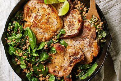 Recipe: Garlic-lime pork with farro & spinach