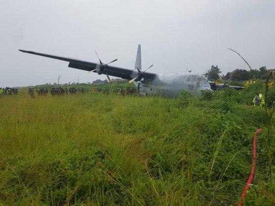 PICS, VIDEO: SA military plane crash-lands in the DRC